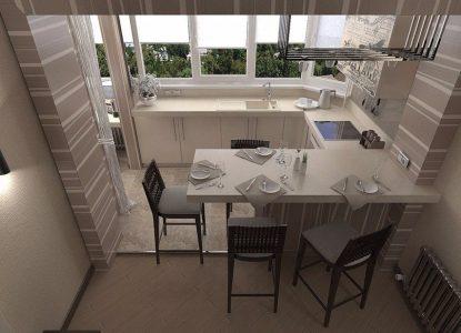 Кухонная зона на лоджии