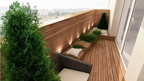 Деревянный пол на балконе
