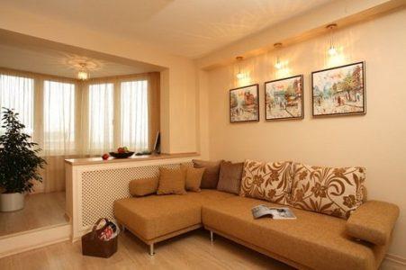 Дизайн гостиной с лоджией