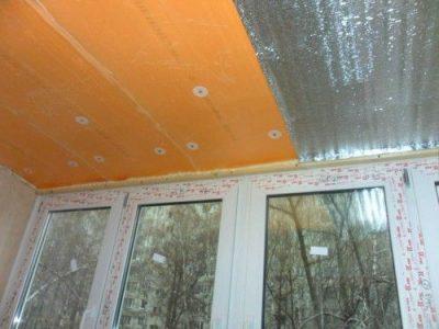 Утепление потолка лоджии