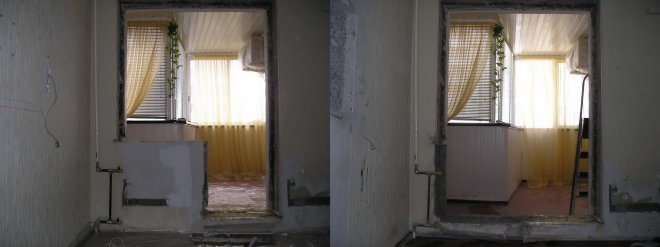 Перегородка балкона